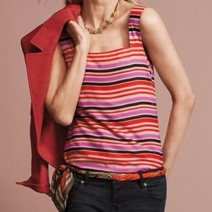 CAbi Striped Colorful Tank Top Size Large NWT